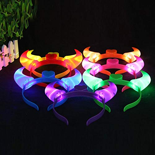 Demarkt LED Devil Horns Headband Flashing Light Up Hairbands for Kids Adult Halloween Headress Pack of 5 Random Color