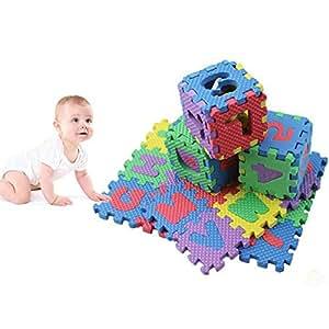 Navigatee Puzzle-Matte - Schaumstoff-Fußmatten Kinder-Cartoon alphanumerische Baby-Krabbel-Matten, 6 * 6 cm 36-tlg