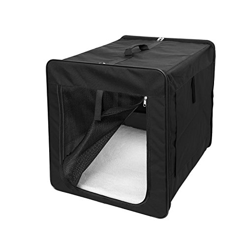 ECD Germany Klappbare Transportbox für Hund und Katze M 580*460*530mm inkl. Polster aus Lammfellimitat Schwarz Hundebox Hundetransportbox Autobox Transporthütte