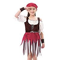 IKALI Halloween Costume Pirate Girl High Seas Buccaneer Dress, Role Play & Dress Up, 3Pcs (dress, head scarf, wristband)