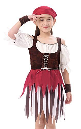 IKALI Pirat kostüm für Kinder Mädchen, Rustikale Maiden Seeräuber Schicken Kleid Aus Der Karibik Rover Rock (Rustikale Piraten Kostüme)