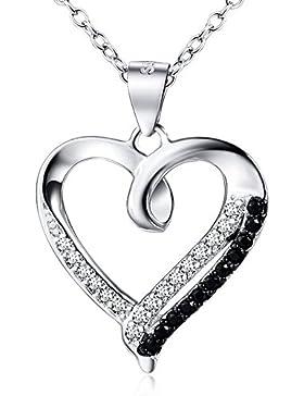 DEWANG 925 Sterlingsilber Herz Anhänger Halskette Kristall schwarz und weißen CZ
