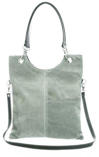 Big Handbag Shop in pelle scamosciata, Maniglia superiore sera frizione borsa a tracolla Light Grey (ST226)