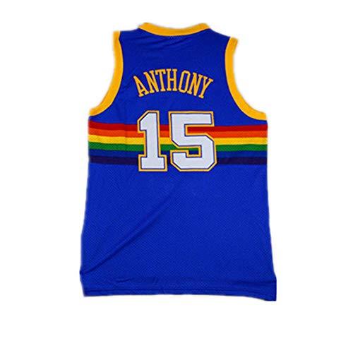 SumPo Basketball-Spieltrikots Für Herren Anthony # 15 Herren Basketball Jersey NBA Denver Nuggets New Jersey Besticktes Jersey (Größe: S-XXL)