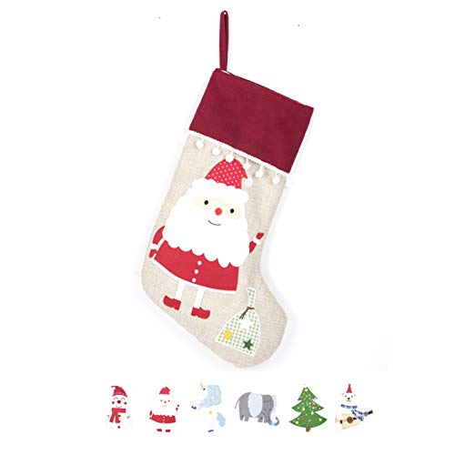 2018 New Christmas Stocking (Extra Large) Embroidered Linen Christmas Ornament For Family Decorations (17.5 Inch) Santa