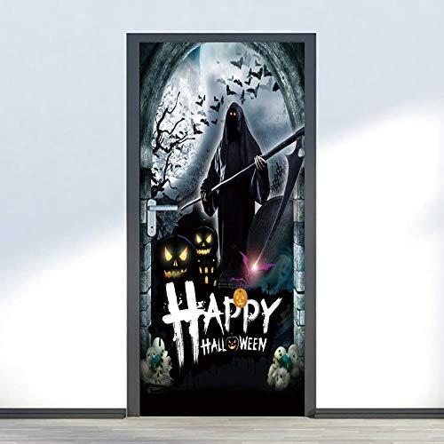 BXZGDJY Türtapete Selbstklebend Fototapete Tapete Türpanel Türposter Türaufkleber Türsticker Tür Dekoration Foto Bild Design Horror Halloween 77X200Cm