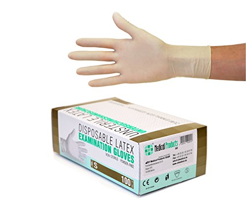 Latexhandschuhe 100 Stück Box (S, Weiß) Einweghandschuhe, Einmalhandschuhe, Untersuchungshandschuhe, Latex Handschuhe, puderfrei, unsteril, disposible gloves, white, Smal
