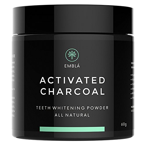 Activated Charcoal Teeth Whitening by Emblá– Teeth Whitening Kit – Activated Charcoal Powder - Teeth Whitening Powder - 100% All Natural - Cruelty-Free - Vegan - Whiten Teeth Naturally