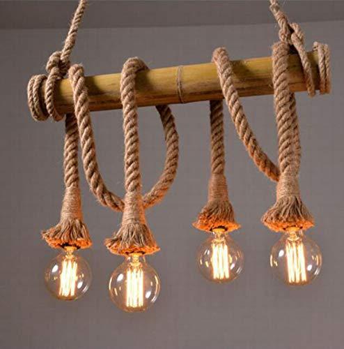 LNYF-OV Plafoniera Lampadario Illuminazione A Soffitto Loft bambù Lampada A Corda Ristorante Soggiorno Negozio di Abbigliamento caffè personalità Illuminazione di bambù