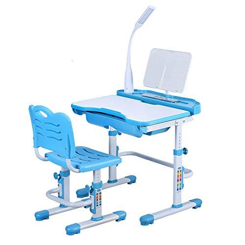 DiLiBee Kinderschreibtisch mit Stuhl und Schublade, Schülerschreibtisch Schreibtisch für Kinder und Schüler höhenverstellbar mit LED Lampe (Blau) -