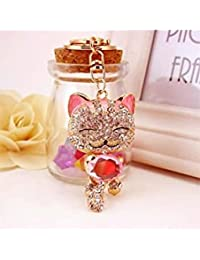 Banggood ELECTROPRIME Crystal Keyring Charm Pendant Bag Key Ring Chain Keychain Fortune Cat Pink
