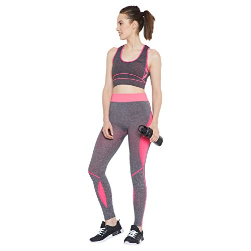 Camey Women 2 Pcs Sport Suits High Impact Sports Bra Yoga Pants Gym Outfits Breathable Exercise Stretchable Bra and Leggings (LT55_03.SET.PINK)