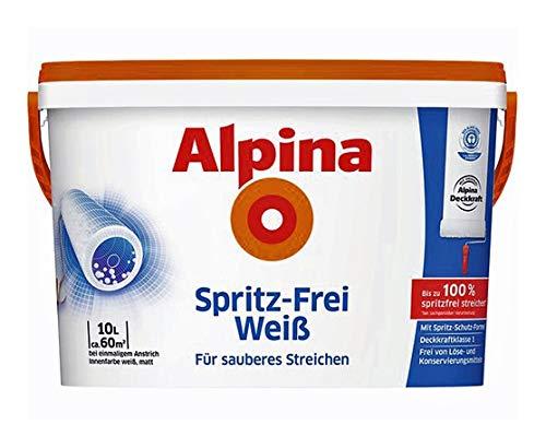 Alpina Spritz Frei Weiß Matt, 10 Liter spritzfrei streichen, höchste Deckkraft
