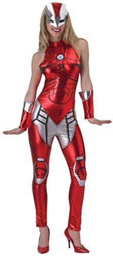 el Sexy Iron Man Overall Catsuit Superhelden Comic Kostüm Kleid Outfit UK 6-18 - Rot, 6-8 (Iron Man Kostüme Damen)