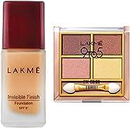 Lakme Invisible Finish SPF 8 Foundation, Shade 01, 25ml & Lakme 9 to 5 Eye Color Quartet Eye Shadow, Desert Rose, 7g