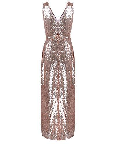 QIFEI@2017 nouvelle robe pailletée robe de soirée des femmes jupe haut de gamme de longueur de robe de demoiselle d'honneur de mariage Champagne