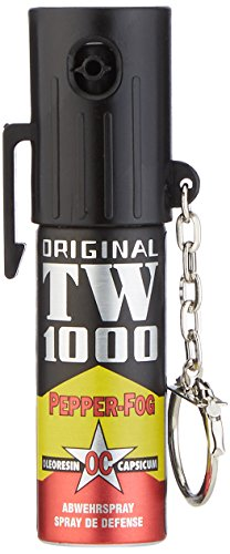 Abwehrspray TW1000 Mini Pfefferspray Breitstrahl mit Schlüsselanhänger, 15 ml