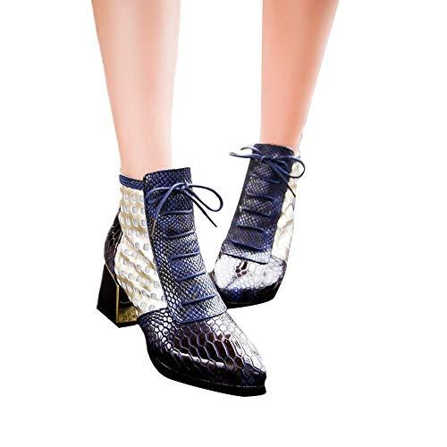 Selou Damen Mode Stiefeletten Snakeskin Design High Heels Sexy Stiefeletten Spitze Winterschuhe Lederschuhe Warme Martin Schuhe Retro Schneestiefel Dicke Stöckelschuhe