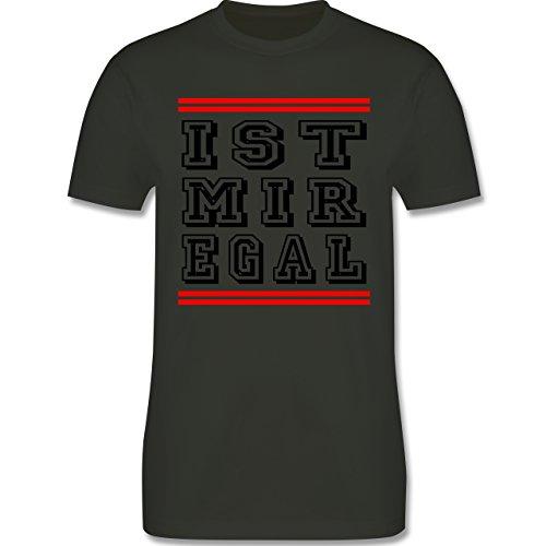 Statement Shirts - IST MIR EGAL - Herren Premium T-Shirt Army Grün