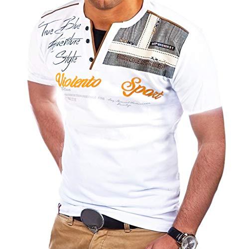 Yvelands Herren Mode T-Shirt Buchstabe Knopf Persönlichkeit Hemd Kurzarm Bluse Tops(Weiß,XXXL)