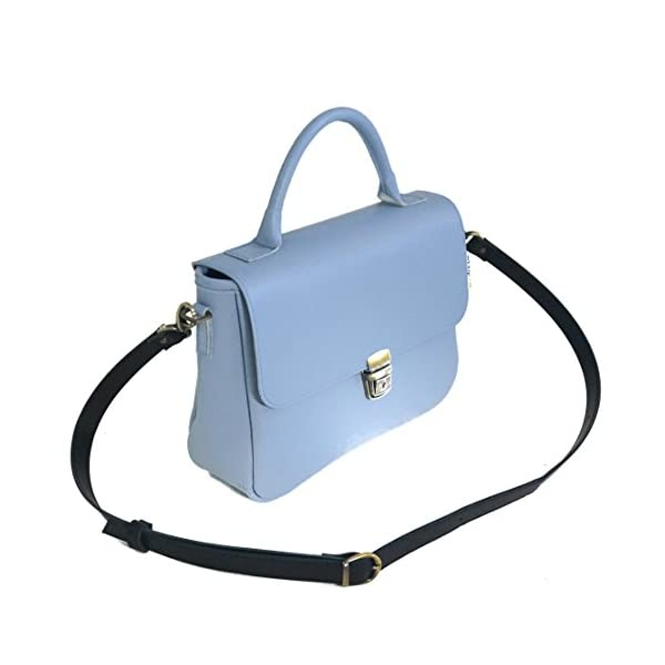 Women handbag with strap; light blue leather; eco-friendly - handmade-bags