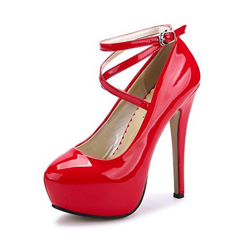 Ochenta, scarpe da donna, con cinturino alla caviglia e plateau, con tacco alto, per feste, eleganti, ((beige sole) pu red new), 41 eu
