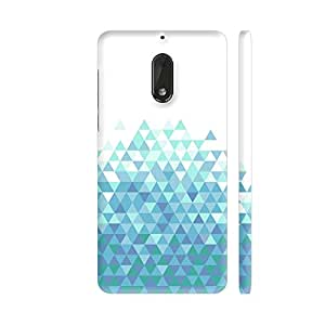 Colorpur Nokia 6 Cover - Trippy Triangles Light Blue Printed Back Case