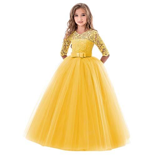 Livoral Kinder Mädchen Spitze Bogen Prinzessin Hochzeitshow Formelle Tutu Kleid(Gelb,13-14 Years)