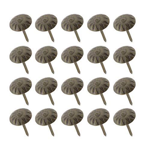 YINETTECH 200 runde Metall-Chrysanthemen Kopfnägel für Bretter, Holz, Basteln, Sofa, Schmuck, Box, Möbel, Stuhl DIY, Flower-Pattern Head - Runde Holz-finish Stuhl