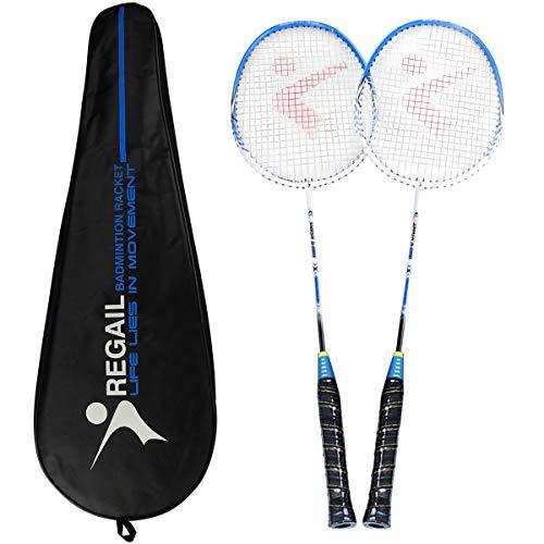Philonext Badmintonschläger, Badminton Set Carbon Badmintonschläger Federballschläger, Leichtgewicht Badminton Schläger, 2 Spieler Badminton Praxisschläger Set Einschließlich 2 Schläger/1 Tragetasche - Blau