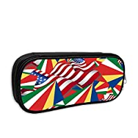 Seychelles Flag with America Flag Pencil Case Pouch Bag Multifunction Cosmetic Makeup Bag School Office Storage Organizer