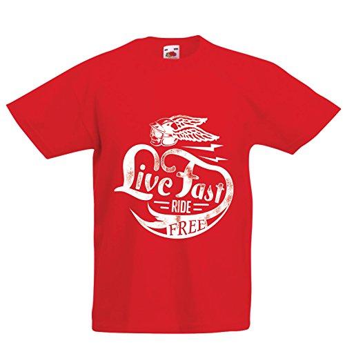 lepni.me Kinder Jungen/Mädchen T-Shirt Live Fast Die Free - Klassische Bikers Kleidung, Motorradausrüstung, Motorrad Sprüche (7-8 years Rot Mehrfarben)