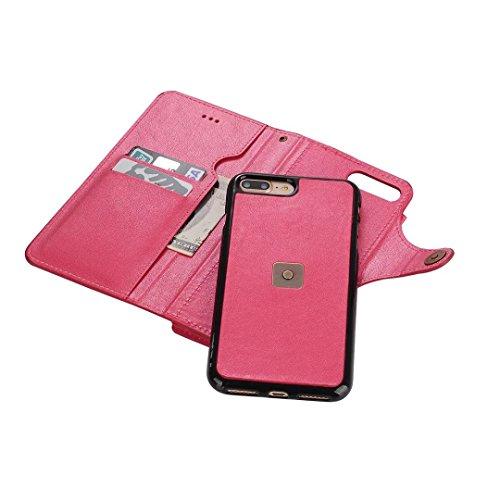 iPhone 7 Plus Hülle, Vandot Geldbörse Wallet Reißverschluss Karte Schutzhülle für iPhone 7 Plus PU Leder Zipper Flip Case Cover Kreditkartentaschen mit Kreditkarte Card Slots Brieftasche Holster Und M Mirror ROSE Rosa