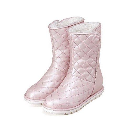 AgooLar Damen Niedrig-Spitze Niedriger Absatz Rund Zehe Stiefel Pink