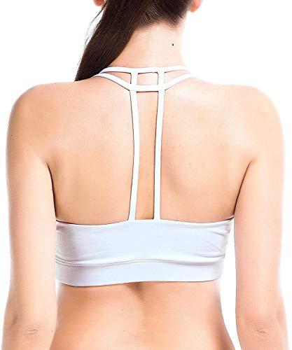 YIANNA Damen Sport BH Starker Halt mit Y-Rücken ohne Bügel Push Up Seamless Komfort Yoga Bustier Sports Bra Padded Weiß,UK-YA-BRA142-White-M