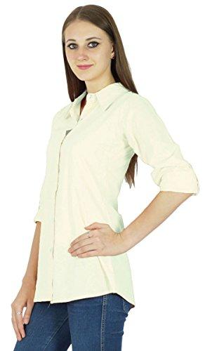 Top Chemise En Coton À Manches Longues Solide Kurta Courtes Vêtements De Blanc