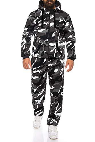 Finchman Finchsuit 1 Herren Jogging Anzug Trainingsanzug Sportanzug FMJS135, Camo Grau, L Jacke Und Hose