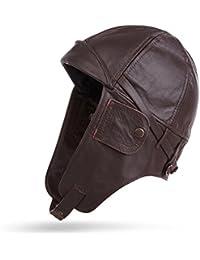 Planeador Gorro de cuero auténtico/piel–capó, marrón