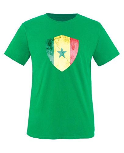 Comedy Shirts - Kamerun Trikot - Wappen: Groß - Wunsch - Kinder T-Shirt - Grün/Gelb Gr. 134-146