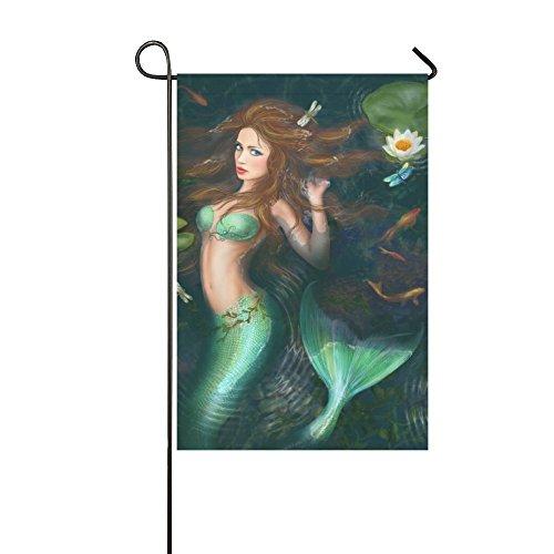 Prinzessin Meerjungfrau in Lake mit Lily Polyester Garten Flagge Banner 31,8x 45,7cm, ocean Dekorative Garten Flagge für Party Home Outdoor Decor (Meerjungfrau Halloween-ideen)