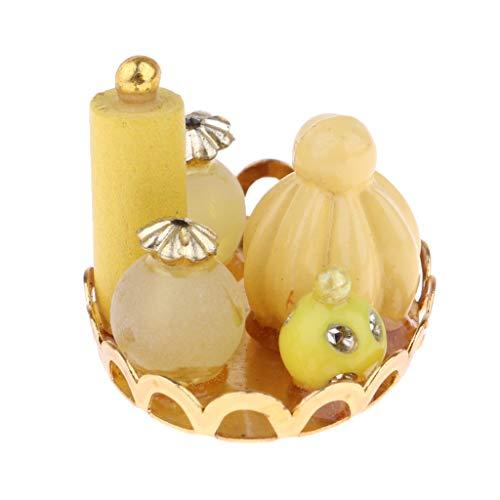 Générique 1/12 Dollhouse Miniature Home Item Bouteilles De Parfum W.Tray Yellow