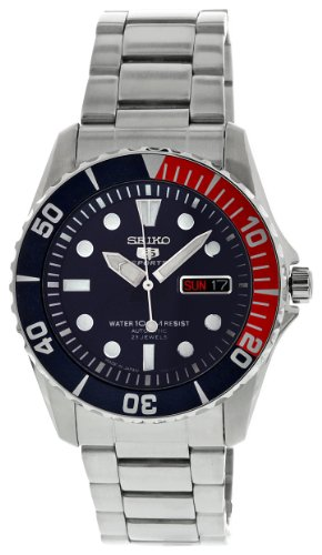 Stainless Steel Seiko 5 Sports Automatic Dark Blue Dial Day and Date Displays