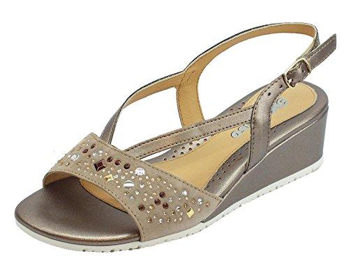 MELLUSO Sandalo per Donna in Vernice Scamosciato e Scamosciato Vernice Camel con Zeppa   c635aa