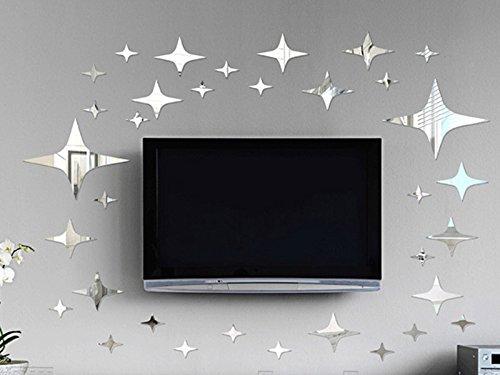 Gazechimp 43x Spiegel Stil Wandbilder Wandaufkleber Aufkleber Wandtattoo Dekor Für Schlafzimmer Schrank Sterne Design