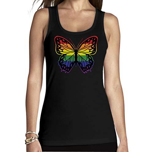 Butterfly-baumwolle-tank Top (Shirtgeil LGBT Top CSD Pride Parade Gay & Lesbian Rainbow Butterfly Frauen Tank Top Medium Schwarz)