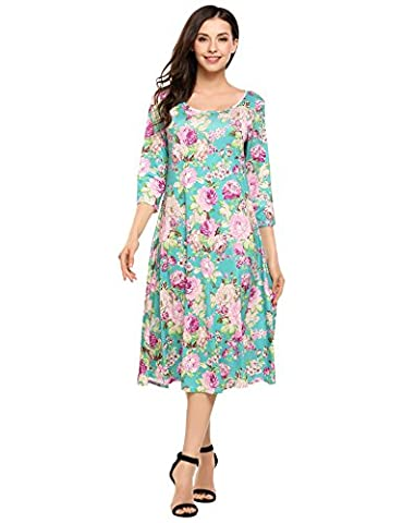 HOTOUCH Women Scoop Neck 3/4 Sleeve Floral Print Flared Swing Dress(Green, M)