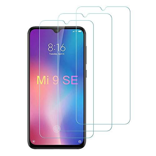 Flysee Protector de Pantalla Xiaomi Mi 9 SE, [3 peces] Cristal Templado Xiaomi Mi 9 SES[Alta Definició, sense Bombolles, 9H Duresa, Anti-Ratllades]