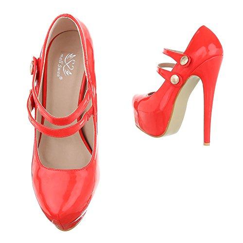 High Heel Damenschuhe Plateau Pfennig-/Stilettoabsatz High Heels Klettverschluss Ital-Design Pumps Rot KV62-53J