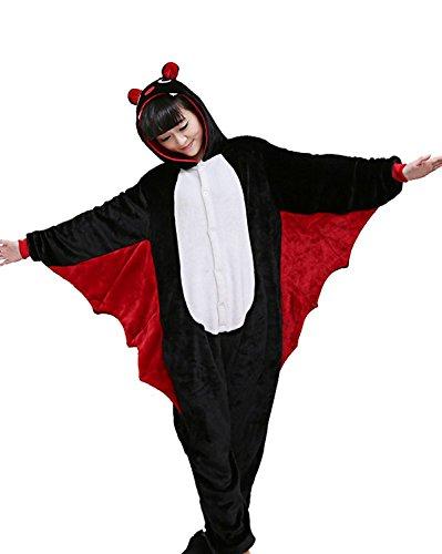 JT-Amigo - Pigiama Tutina Costume Animale - Unisex Uomo e Donna - Pipistrello, M (Altezza 160-170 cm)
