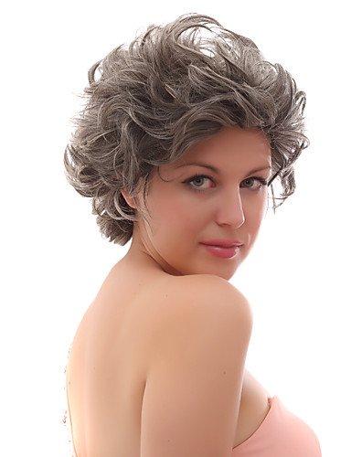 Fashion wigstyle Lace Front grau kurz gelockt gemischt Haar Perücken mit twenty-percent Echthaar auf Verkauf billige